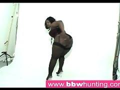 Hot ebony BBW teasing a big ass lover