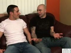 Three gays talk and start fondling and kissing