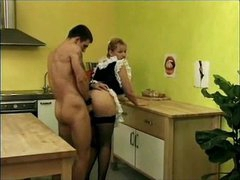 He bones French maid hard in kitchen