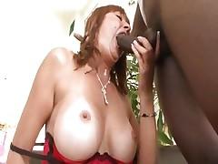 Busty mom Desi Foxx gets it from a big black schlong