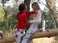 Nasty teens totally naked in forest