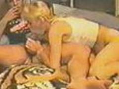 Blonde licks smoking guy