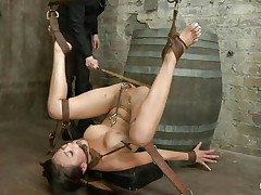 oriental young serf getting punished for her sins