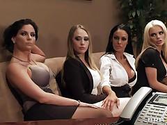 four babes seducing their boss for more money