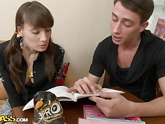 Agnese is a cute faced babe and she is a little bit shy but when her teacher starts being naughty with her she responses at her best and showing her juicy boobs. He sucked those small boobs and then he gets his man meat wrapped by those chick's sexy lips after giving lick between her tight thighs.