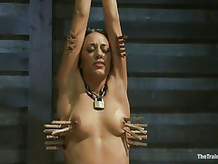 pain and pleasure for a tied hispanic whore
