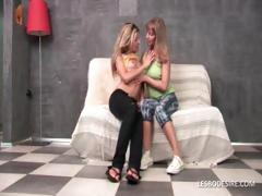 Horny teen girlfriends giving a kiss passionately and caressing their sexy bodies