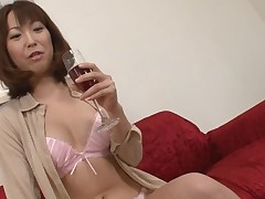 Pretty Oriental charms with wild blowbang to receive deep anal