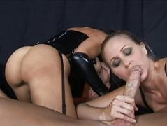 Brunette and blonde milfs sucking schlong and fucking hard