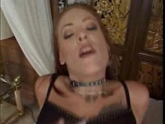 Chick in fishnets on top of a big cock