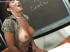 Shemale Prisilla teaches male to suck cock