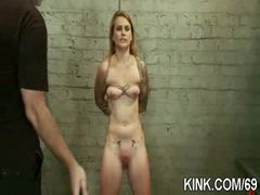 Breasty waitress punished and screwed in thraldom