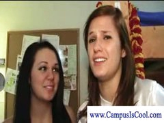 Lesbian college girls in stripped dorm fun