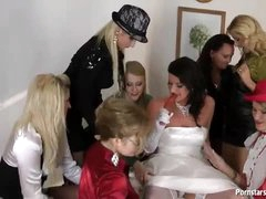 A bride and her sexy dressed friends get naughty